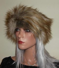 Ginger Wolf Fur Headband with Silvery Highlights
